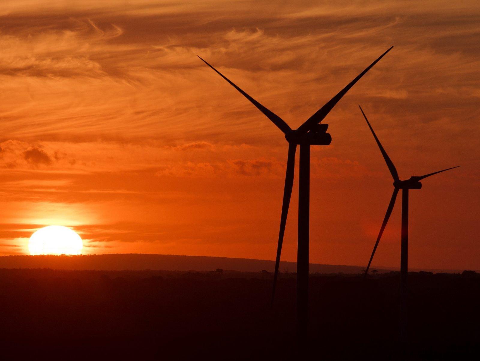 vestas wind turbines sunset